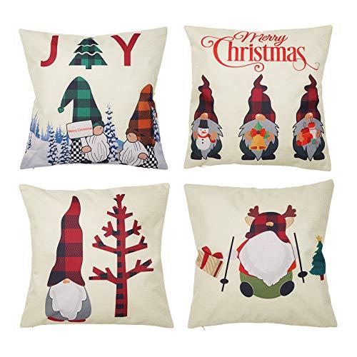 hatatit Juego de 4 fundas de almohada de 45,72 x 45,72 cm, diseño de gnomos navideños, color rojo, verde y negro, a cuadros de búfalo, funda de cojín decorativa de lino y...