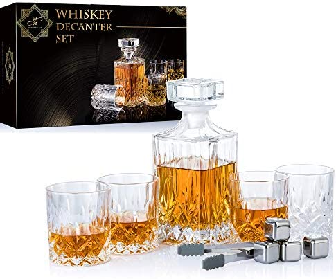 YouYah Whiskey Decanter Set with 4 Crystal Glasses 4 Stainless Steel Ice Cubes Tong Whiskey product image