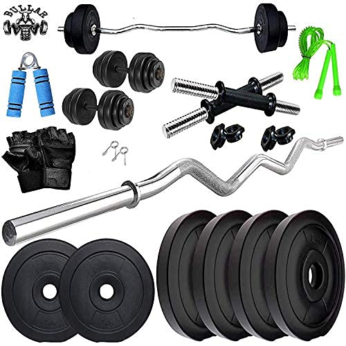 BULLAR Home Gym Set, Home Gym Combo, Home Gym Kit, Gym Equipments, (8-32 kg), 3Ft Curl Rod + One Pair Dumbbell Rod, Weight Plates, Exercise Set & Accessories (15KG Combo)