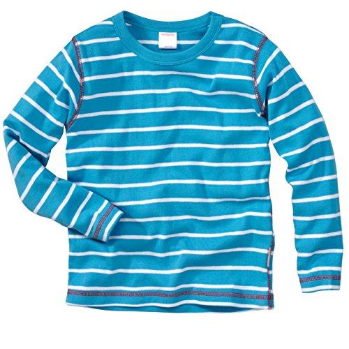 WELLYOU | Baby-Strampler | Kinder-Strampler | türkis weiß gestreift | Strampelanzug Geringelt | für Jungen und Mädchen | Feinripp aus 100% Baumwolle | Größe 68-74