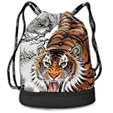 Bolsas de Gimnasia, Traveling Sport Gym Beam Bag Cool Japanese Tiger Animal Painting Beam Backpack Basketball, Volleyball, Baseball Shoulder Bags For Boys Teens Youth Running Camping