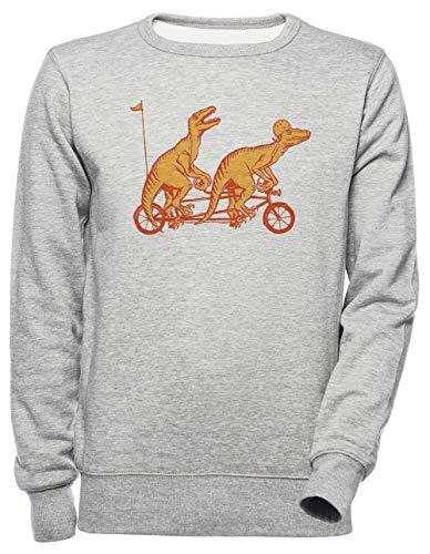 Luxogo Radfahren Raptors Auf Tandem Fahrrad Unisex Grau Jumper Sweatshirt Herren Damen Unisex Grey Jumper Men\'s Women\'s