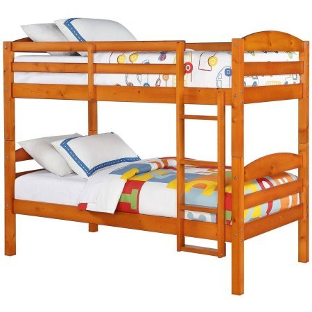 Better Homes and Gardens Leighton Twin Over Twin Wood Bunk Bed, (1.Pine)