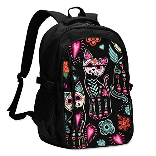 XCNGG Sugar Skull Cat Travel Laptop Backpack with USB Charging Port Multifunction Work School Bag