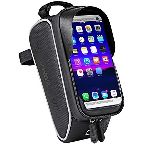 Sayla Fahrrad Rahmentasche, Rahmentasche Fahrradtasche Wasserdicht Fahrradtasche Touch-Screen Sports Rahmentasche Oberrohrtasche Fahrrad Handyhalterung Geeignet für Handys bis 6.2 Zoll (schwarz)