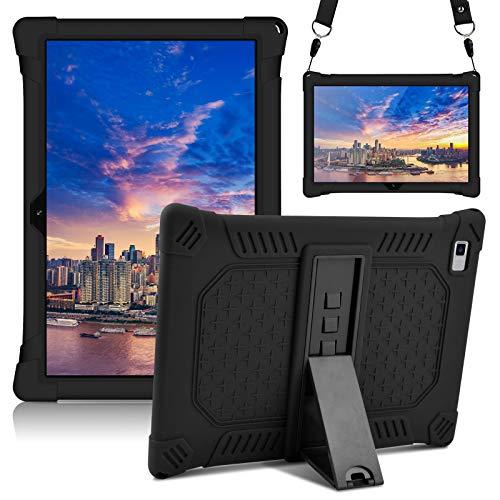 KATUMO Funda de silicona para Teclast P20HD de 10,1 pulgadas [Stylus Pen & Correa de hombro & Soporte Ajustable] Funda ligera Compatible con Tablet TECLAST M40 Tablet,Negro