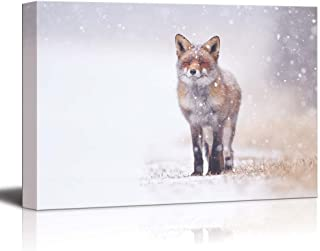 Canvas Prints Wall Art - Red Fox in The Snow | Modern Wall Decor/Home Decoration Stretched Gallery Canvas Wrap Giclee Print & Ready to Hang - 16