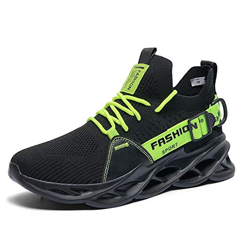 Nobranded Tennis Hombres Shoes for Men Slip on Comfort Lightweight Breathable Best Running Walking Fitness Sports Gym Training Run Workout Sneakers Snickers for Male Black Green 39