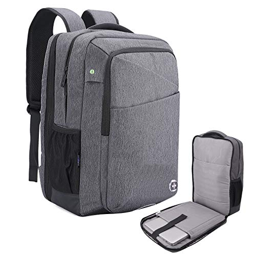 SwissDigital Micro Gray TSA-Friendly Backpack-Business Commuting 15.6 inch College School Backpack Laptop Computer Bag for Men & Women, USB Charging Port Backpack Casual Travel Daypack SD-839