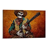 ASDUN Cowboy Skelett Kunst Poster Dekorative Malerei