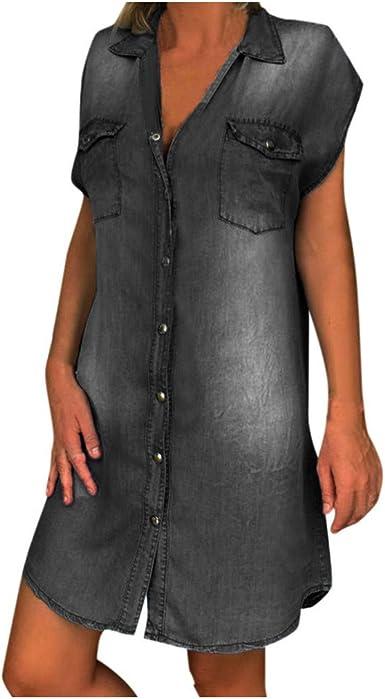 Knee Length Denim Dress,Vintage Short Sleeve Dress,blue jean dress,