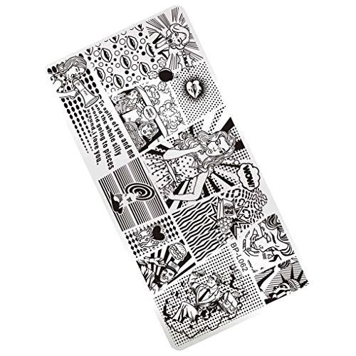 Demino/DIY Rectangle Nail Stempelen Plate Nail Art Stempelen Image Plate Stamp Template Nail Stencil Tool Kits
