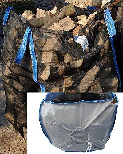 20 x Hochwertiger Premium Big Bag für Holz Brennholz Kaminholz Holzbag Woodbag Brennholzsack Netz Big Bag 100 * 100 * 120cm mit Sternboden