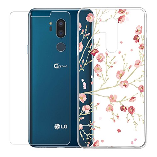 """LJSM LG G7 ThinQ Trasparente Cover + Pellicola Protettiva in Vetro Temperato - Morbido Clear Silicone Custodia Protettivo TPU Gel Sottile Case per LG G7 ThinQ (6.1"""") -WM84"""