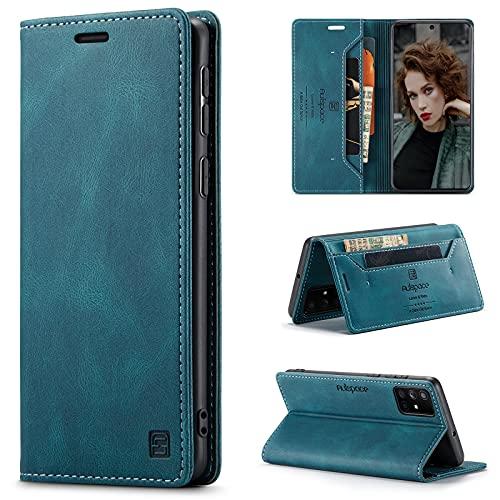 HülleNN Kompatibel mit Samsung Galaxy M31 Hülle Handyhülle Premium Leder Flip Hülle Magnetisch Klapphülle Wallet Lederhülle für Männer Frauen RFID Schutz Silikon Bumper Schutzhülle Geldbörse Blaugrün