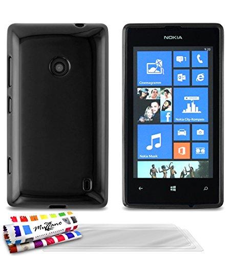 Muzzano–Cover morbida ultra sottile Nokia Lumia 520[Glossy Premium] [Nero] di MUZZANO + 3pellicole di protezione schermo 'UltraClear + Pennino e Panno Muzzano offerti–La protezione antiurto Ultime, protezione anti-urto elegante e duratura per il vostro Nokia Lumia 520