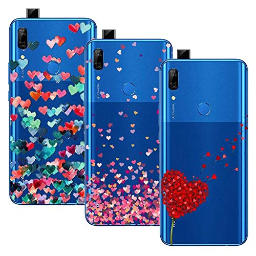 Funda Young & Ming Huawei P Smart Z, (Paquete 3) Estuches de silicona blanda transparente Funda de gel de TPU, Love