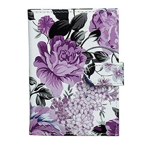 Funda de pasaporte con estampado de flores de peonía multicolor con ranuras para tarjetas de identificación con bloqueo RFID, funda para tarjeta de identificación, bolsa de tarjeta de pasaporte