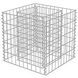 Jardinera Gabion, de acero galvanizado, jardinera de jardín, cama, 50 x 50 x 50 cm