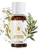 Vitamine D3 K2 MK7 100% Pure & naturelle avec Huile d'olive bio • 5 mois d'utilisation • Booste le système immunitaire • Santé des Os et des Muscles • Complément Vitamine D Végétarien • NUTRIPURE
