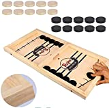 Zrauker Newest Fast Sling Puck Game Wooden Large Sling Hockey Board Game – Hockey Wooden Games for Kids and Adults – 23 x 12.5-inch Wooden Hockey Table Game for Family Fun, Eco-Friendly Game Board