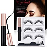 Magnetic Eyeliner With Magnetic Eyelashes Kit, 3 Pair Reusable False Lashes and Waterproof Magnetic Liquid Eyeliner Set (With Tweezers) (5D-1)