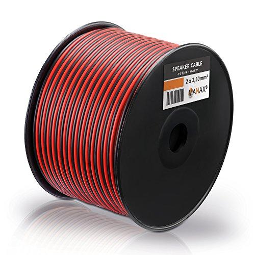 MANAX Cable para altavoz (2 x 1,5 mm², bobina de 100 m), color rojo y...