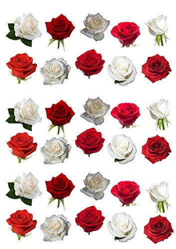 Kuchendekorationen, essbar, mit rotem und weißem Rosenmotiv, 30 Stück