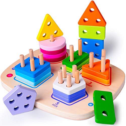 Rolimate Apilador Geométrico de Madera, Bloques de Construcción para Clasificar Apilar Encajar Juguetes Educativos Apilables para Niños Niñas Bebés de 3 4 5 6 Años