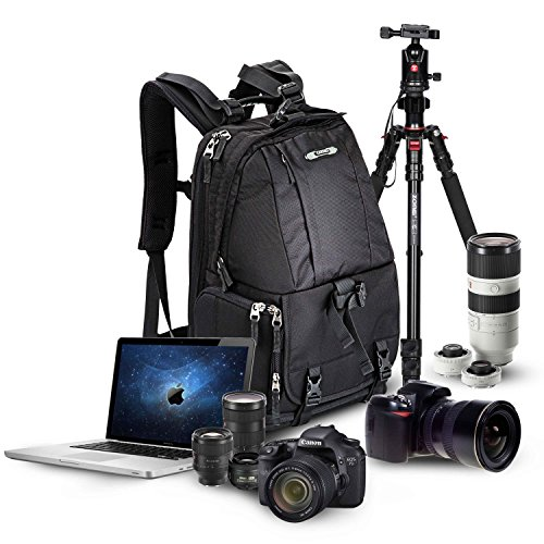 """Professional Large Camera Bag Comfortable DSLR SLR Backpack fit 15"""" Laptop with Rain Cover and Tripod Holder Strap for Canon Nikon SONY Olympus Samsung Pentax Panasonic Cameras Tablets or Notebooks"""