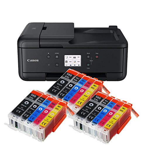 Canon Pixma TR7550 TR-7550 All-in-One Farbtintenstrahl-Multifunktionsgerät (Drucker, Scanner, Kopierer, USB, WLAN, Apple AirPrint) Schwarz + 15er Set IC-Office XXL Tintenpatronen 580XXL 581XXL