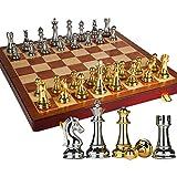 Juego de Ajedrez Juego de ajedrez de Alta Gama Ajedrez Tridimensional Piezas de ajedrez de Gran tamaño Tablero de ajedrez de Madera Plegable Retro Europeo Ajedrez (tamaño : 11.82 in)