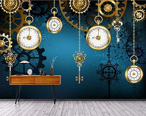 ZNNBH Selbstklebende Tapete 3D Wandbilder (B) 450X (H) 300Cm Europäische Uhr Tisch Fototapete 3D Tv Hintergrund Schlafzimmer Wohnzimmer Moderne Malerei Tapeten Wandbilder 3D Wandbilder Kinderzimmer