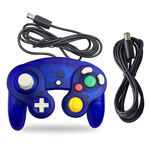 Gamecube Controller, AreMe 1 Pack Classic Wired Controller with Extension Cable for Wii Gamecube GC Console (Clear Blue)