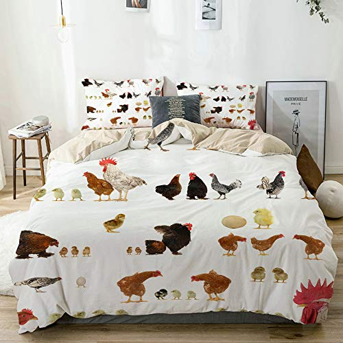MAYBELOST bedding-Duvet Cover Set,Beige,Chicken histories on a white background,Microfibre 200x200 with 2 Pillowcase 50x80,Double