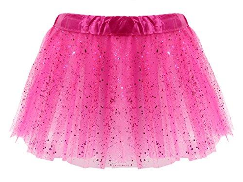 Alsino Tüllrock Pink Glitzer Mini Tütü Rock Minirock 50er 60er Jahre Ballettrock Tutu Tüllröckchen elastischer Bund LG0271