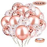 Whaline 50 PCS Rose Or Ballons Confettis, Ballons Fête Ballon, 2 Rubans pour Mariage, Diplôme, Bapteme, Baby Shower Cérémonie Décorations