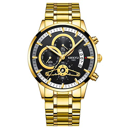 NIBOSI NIBOSI Chronograph Men's Watch (Black Dial Gold Colored Strap)