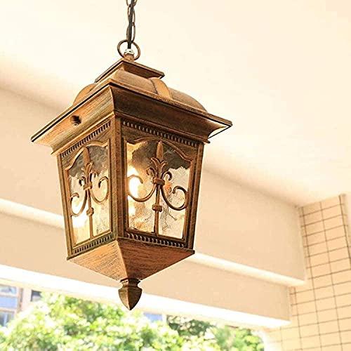 Huhu Victoria Chandelier Vintage Chandelier Waterproof Outdoor Adjustable Pendant Lamp E27 Oil Rubbed Bronze Finish Aluminum Pendant Lamp Glass Shade Garden Corridor Balcony Gazebo Villa Grap