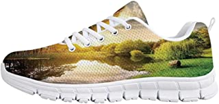 YOLIYANA Landscape Jogging Running ShoesSunset Evening View Picture Hell Gate and Triboro Bridge Astoria Queens America Sneakers for Girls Womens,US 5