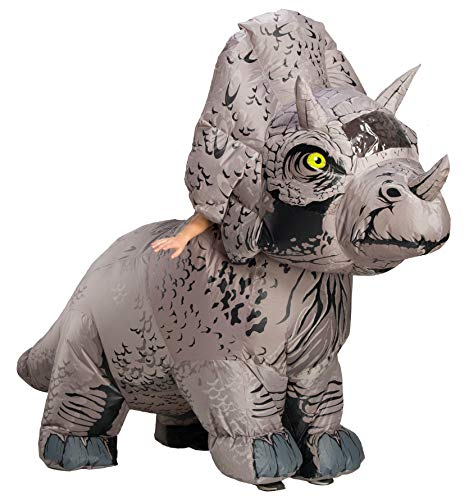 Rubies Disfraz de dinosaurio inflable oficial de Jurassic World Triceratops para adultos,...