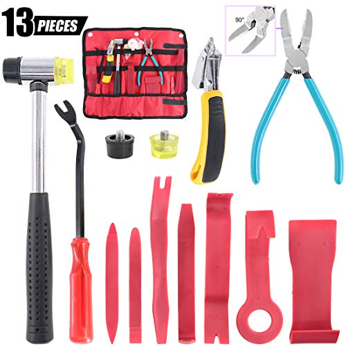 Swpeet 13Pcs Auto Trim Removal Tool Kit, 7Pcs Car Panel Removal Tool Kit, Diagonal Cutting Pliers, Soft Mallet and Replacement Head, Staple Remover with Tack Puller Tool for Door Panel Removal Tools