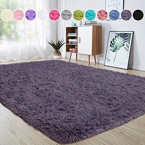 junovo Ultra Soft Area Rugs 4 x 5.3ft Fluffy Carpets for Bedroom Kids Girls Boys Baby Living Room Shaggy Floor Nursery Rug Home Decor Mats, Grey-Purple
