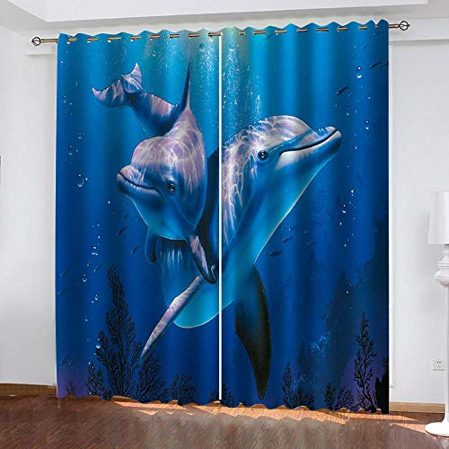 cnxaye 3D Cortina Opaca Delfín Cortinas Térmicas De Salón Dormitorio Anti Ruido para Ventana De Habitaciones Infantiles Juveniles 220X 215 Cm