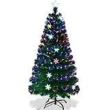 GOPLUS Sapin de Noël Artificiel Fibre Optique avec Socle, 15 Flocons de Neige Lumières LED et Etoile Sommet, Branches Touffues, Feuilles en PVC, Décoration de Noël, 4 Tailles au Choix, Vert (120)