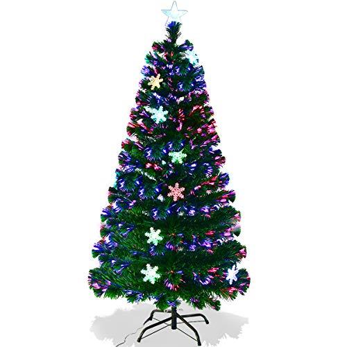 GOPLUS Sapin de Noël Artificiel Fibre Optique avec Socle, 15 Flocons de Neige Lumières LED et Etoile Sommet, Branches Touffues, Feuilles en PVC, Décoration de Noël, 4 Tailles au Choix, Vert (150)