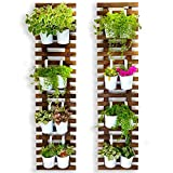 Wall Planter - 2 Pack, Wooden Hanging Large Planters for Indoor Outdoor Plants, Live Vertical Garden, Plant Wall, Wall Mount Plant Holder Stand Room Decor , Garden Wall Trellis for Climbing Plants