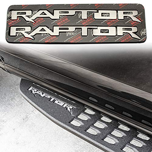 RAPTOR Running Board Emblems, Brushed Stainless Steel | fits 2017-2020 Ford Raptor