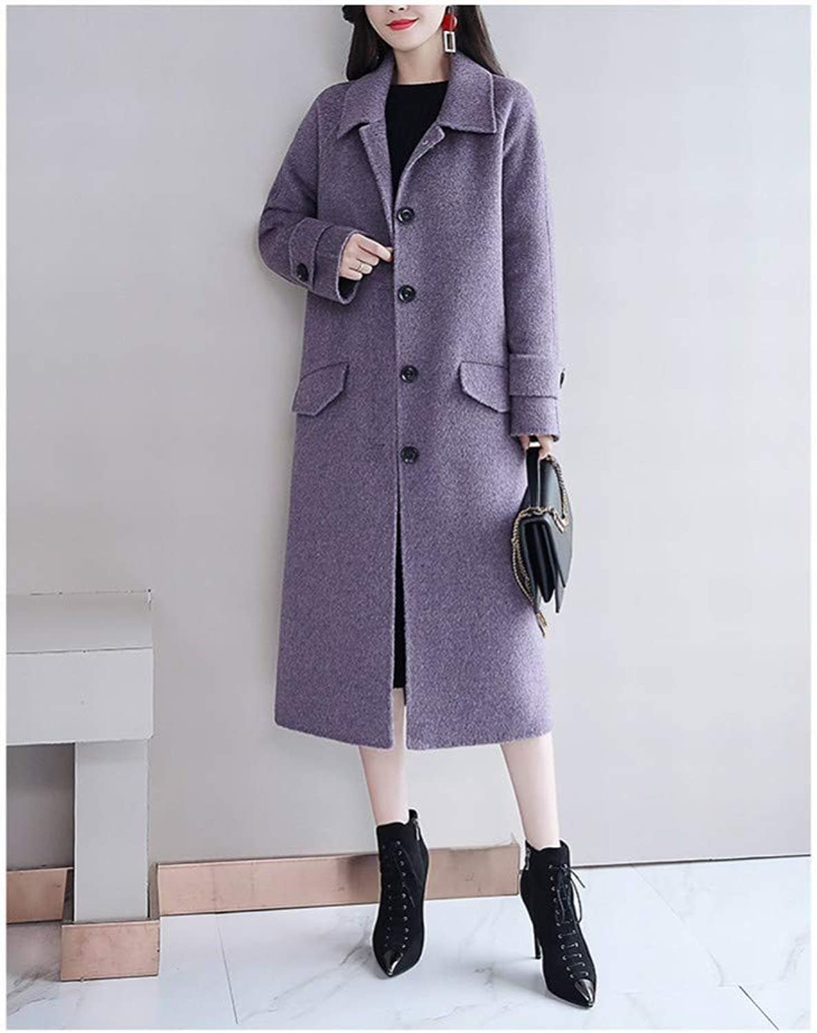 Ladies' Clothes  Medium and Long Wool Coat, Autumn and Winter Women's Fashion Temperament Nizi Coat, Purple Woolen Coat Winter Coat Warm Coat SED