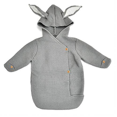 YEKEYI Unisex Baby Wickeldecke für Neugeborene, Strick-Schlafsack, Schlafsack für 0-12 Monate Baby, grau, Einheitsgröße